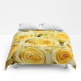 soft yellow roses close up Comforters