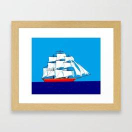 Clipper Ship in Sunny Sky Framed Art Print