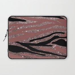 Modern black mauve pink rose gold glitter animal print Laptop Sleeve