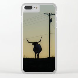 Longhorn at Sunset Clear iPhone Case