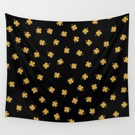 Golden shamrocks Black Background Wall Tapestry