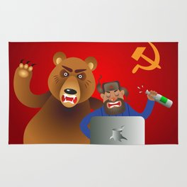 Russian hacker with laptop, vodka and own pet bear on USSR flag background Rug