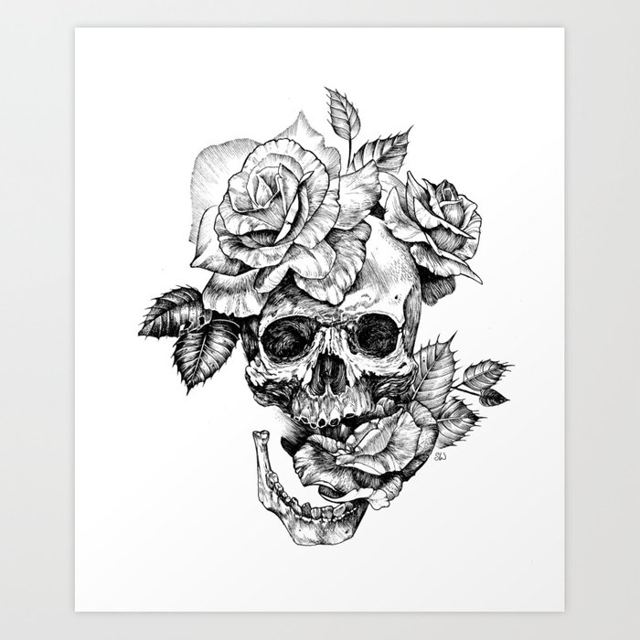 Black And White Skull With Roses Pen Drawing Art Print By