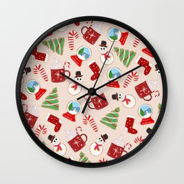 Festive Red Christmas Cookie Illustration Pattern Wall Clock