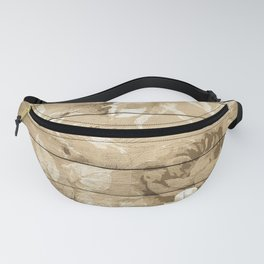Shabby Chic Country Floral Peony Wood Fanny Pack