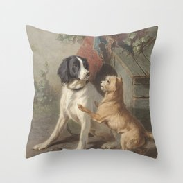Conradijn Cunaeus - Two dogs in front of a doghouse (1838 - 1895) Throw Pillow