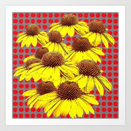 DECORATIVE YELLOW CONE FLOWERS ON RED PATTERN ART Art Print