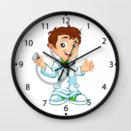 Cute little male doctor smiling Wall Clock