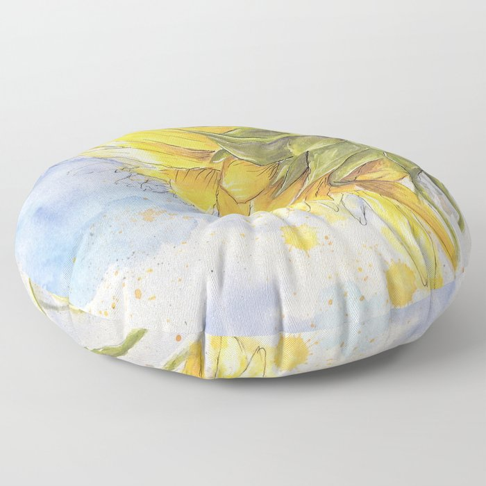 Helianthus annuus: Sunflower Abstraction Floor Pillow