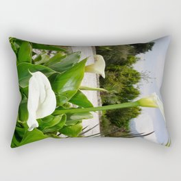 Three Cream Calla Lilies With Garden Background Rectangular Pillow