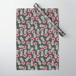 Camelita Retro Folk Flower Wrapping Paper