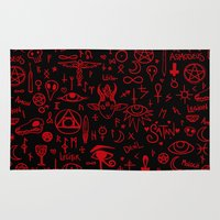 notebook Area & Throw Rugs featuring notebook scribbles for satan by Mel Fox