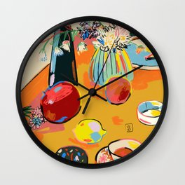 TEA AND FLOWERS AT HOME Wall Clock