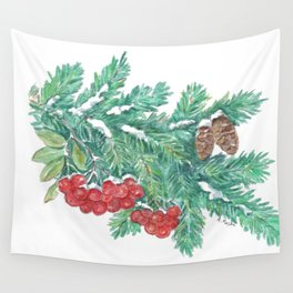 Pine Needles and Berries Wall Tapestry