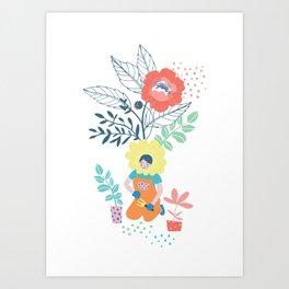 Flower Girl in the Garden Art Print