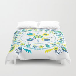 Folk Flowers in Yellow and Turquoise Duvet Cover