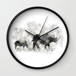 Rhino and Calf Wall Clock