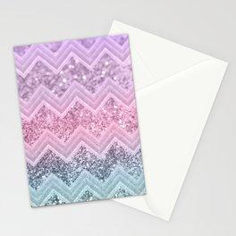 Unicorn Glitter Chevron #1 #pastel #shiny #decor #art #society6 Stationery Cards