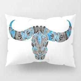 Water Buffalo Skull – Black & Blue Pillow Sham