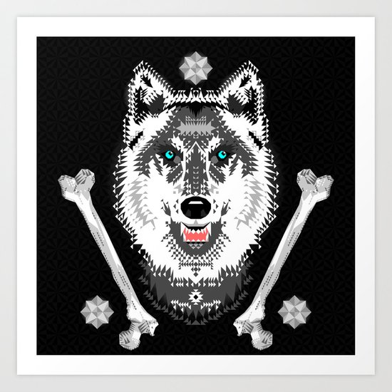 Silver Wolf Geometric Art Print