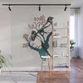 Magpies on Oak Wall Mural