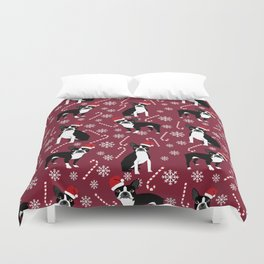 Boston Terrier santa hats candy canes and snowflakes dog pattern gifts by pet friendly Duvet Cover