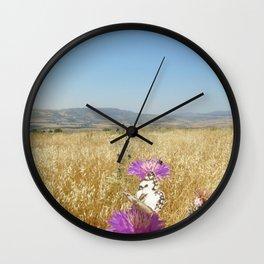Butterflies, Purple Flowers Wall Clock