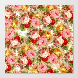 Boho chic pink yellow red roses floral vintage painting Canvas Print