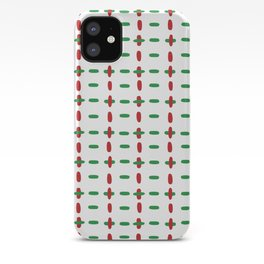Christmas vector red and green horizontal and vertical stitches aligned on white background seamless iPhone Case