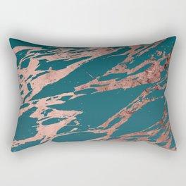 Modern Rose Gold Peacock Teal Marble Rectangular Pillow
