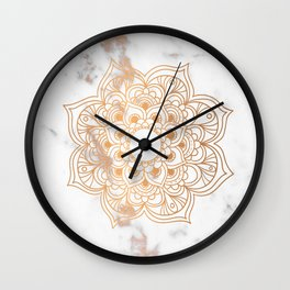 Copper flower mandala - marble Wall Clock