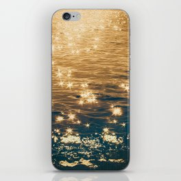 Sparkling Ocean in Gold and Navy Blue iPhone Skin