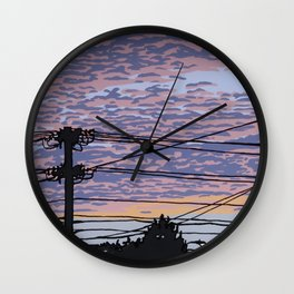 Telephone Poles at Sunset 1 Wall Clock