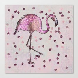 Glamorous Flamingo pink and rose gold sparkle Canvas Print