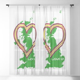 Love United Kingdom Map And Heart Sheer Curtain