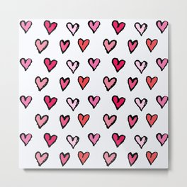Cute Girly Pink Hand Drawn Hearts on White Pattern Metal Print