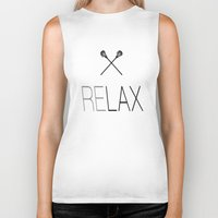 lacrosse Biker Tanks featuring Relax Lacrosse LAX by Directapparelco
