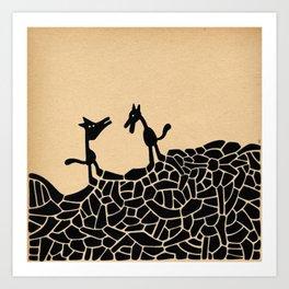 - la rencontre - Art Print