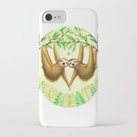 sloths iPhone & iPod Cases featuring Sloths in Love by Kirsten Sevig
