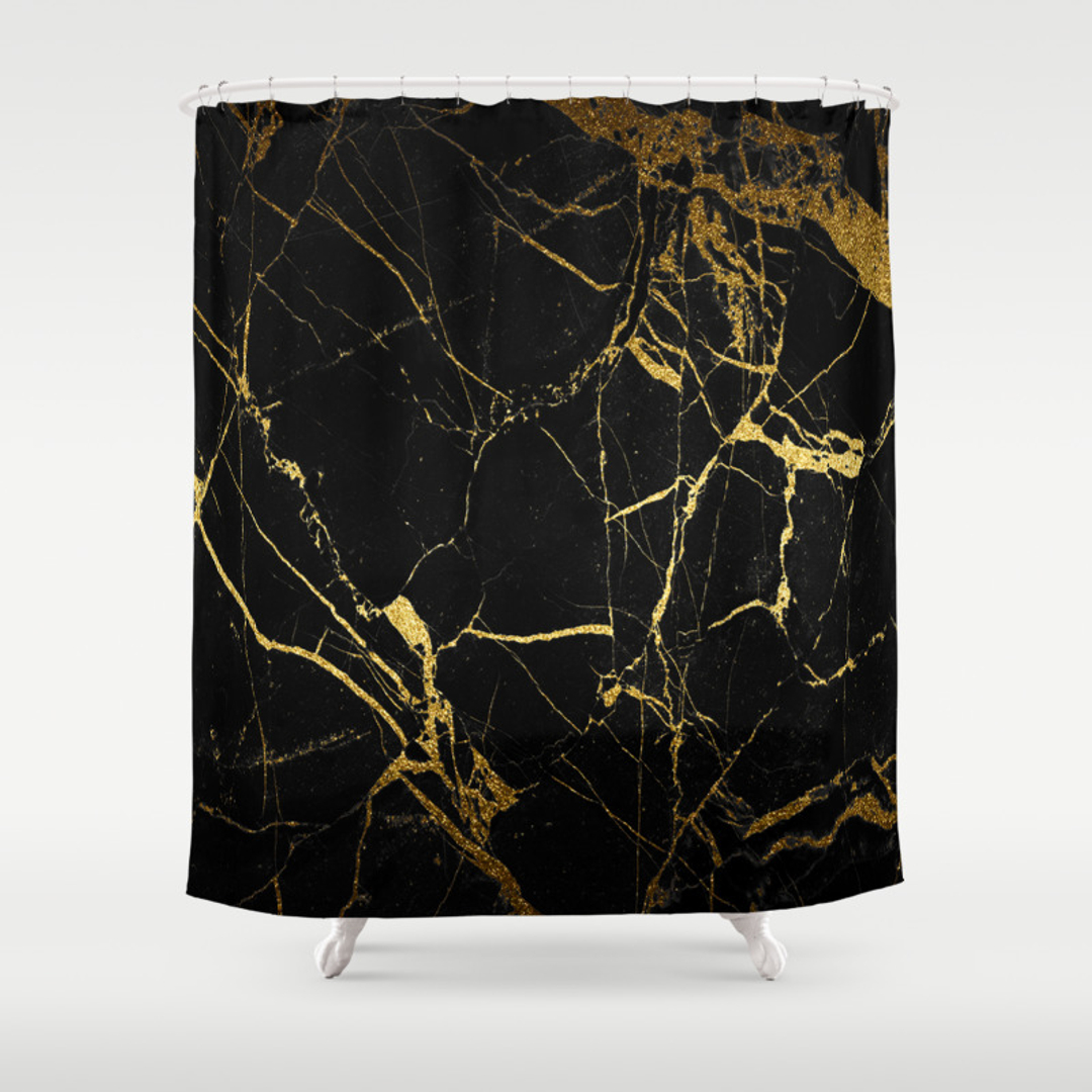 Luxury black and gold shower curtains - Luxury Black And Gold Shower Curtains 31