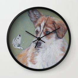Pembroke Welsh Corgi dog portrait painting by L.A.Shepard fine art Wall Clock