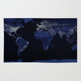 Earth at Night with the lights of most populated cities Rug