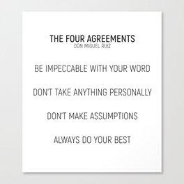 The Four Agreements #minismalism #shortversion Canvas Print