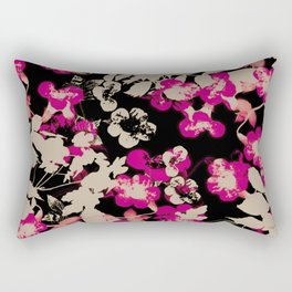 pink flower with silhouette leaves on black Rectangular Pillow