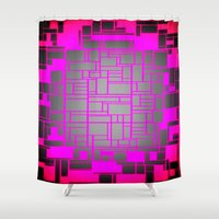 computer Shower Curtains featuring Pink & Gray Computer by PureVintageLove