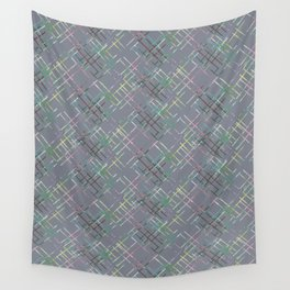 Gray checkered pattern. Wall Tapestry