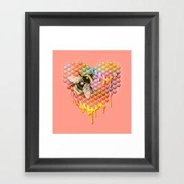 valentines heart, bumblebee, beehive Framed Art Print