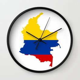 colombia flag map Wall Clock