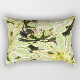 Yellow Desert Echeveria Pattern Rectangular Pillow