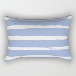 Irregular Hand Painted Stripes Light Blue Rectangular Pillow